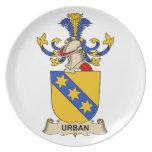 Escudo urbano de la familia plato de cena