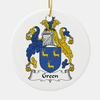 Escudo verde de la familia adorno redondo de cerámica