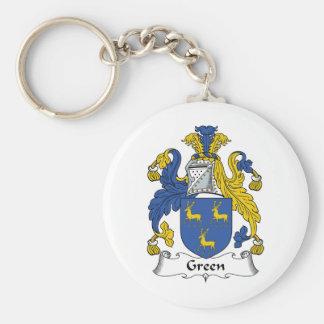Escudo verde de la familia llavero redondo tipo pin