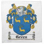 Escudo verde de la familia servilleta de papel