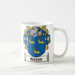 Escudo verde de la familia tazas de café