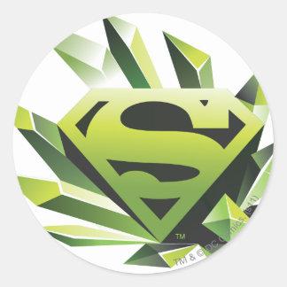 Escudo verde pegatina redonda