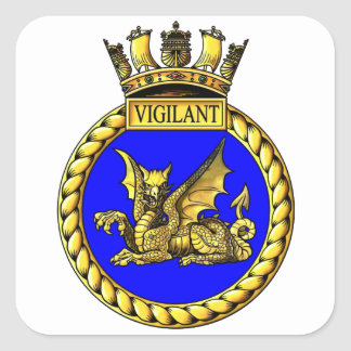 Escudo vigilante del HMS Pegatina Cuadrada