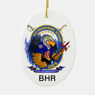 Escudo vivo de USS Bonhomme Richard LHD-6 Ornamento Para Arbol De Navidad