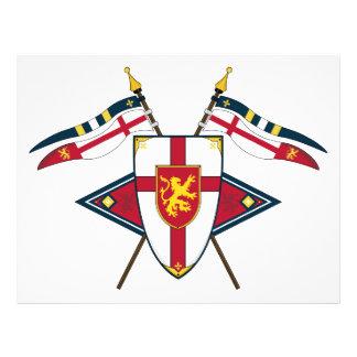 Escudo y aviador medievales de las banderas tarjetas informativas