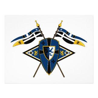 Escudo y aviador medievales de las banderas flyer a todo color