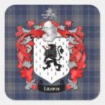 Escudo y EdwardsTartan de la familia de Edwards Calcomanía Cuadrada Personalizada