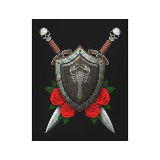 Escudo y espadas adornados gastados del escorpión  lona estirada galerías