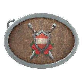 Escudo y espadas austríacos envejecidos de la band hebillas de cinturon ovales