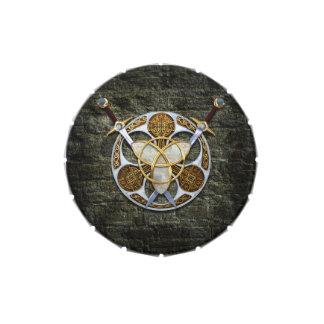 Escudo y espadas célticos jarrones de caramelos