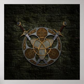 Escudo y espadas célticos póster