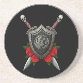 Escudo y espadas circulares gastados de Phoenx con Posavasos Diseño
