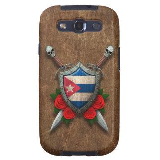 Escudo y espadas cubanos envejecidos de la bandera galaxy s3 cárcasas
