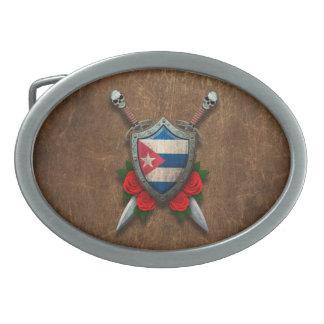 Escudo y espadas cubanos envejecidos de la bandera hebillas cinturón
