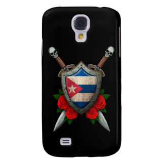 Escudo y espadas cubanos gastados de la bandera co