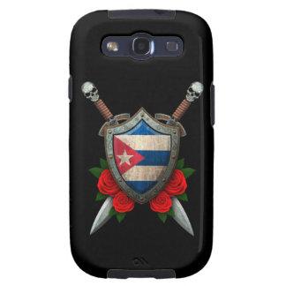 Escudo y espadas cubanos gastados de la bandera co galaxy s3 funda