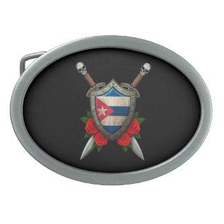 Escudo y espadas cubanos gastados de la bandera co hebillas de cinturon