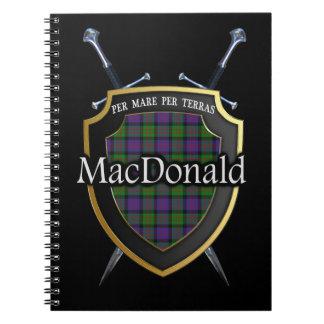 Escudo y espadas del tartán de MacDonald del clan Cuaderno