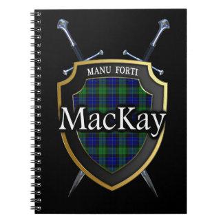 Escudo y espadas del tartán de MacKay del clan Libreta Espiral