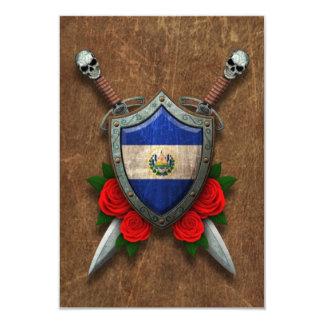 """Escudo y espadas envejecidos de la bandera de El Invitación 3.5"""" X 5"""""""