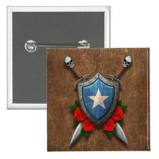 Escudo y espadas envejecidos de la bandera de Soma Pins