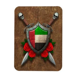 Escudo y espadas envejecidos de la bandera de Unit Iman Flexible