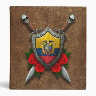 Escudo y espadas envejecidos de la bandera del Ecu