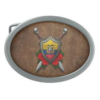 Escudo y espadas envejecidos de la bandera del Ecu Hebilla De Cinturón Oval