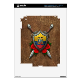 Escudo y espadas envejecidos de la bandera del Ecu Pegatina Skin Para iPad 3