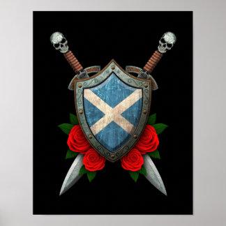 Escudo y espadas escoceses gastados de la bandera  impresiones