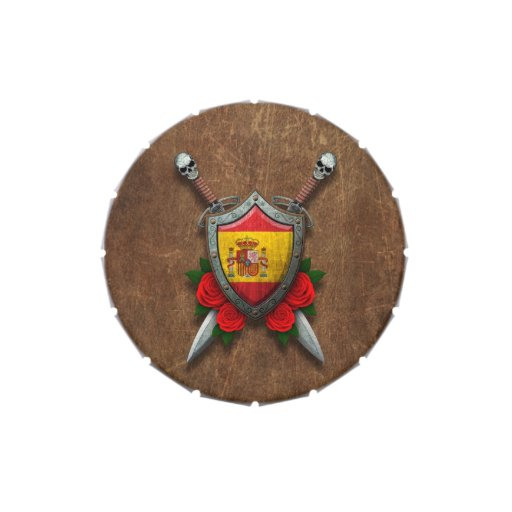 Escudo y espadas españoles envejecidos de la bande latas de caramelos