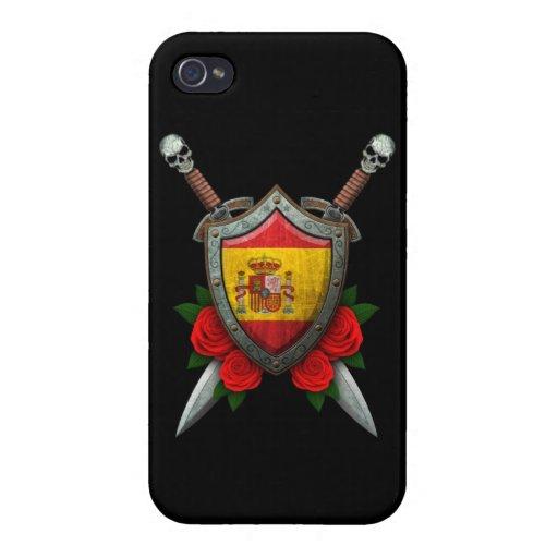 Escudo y espadas españoles gastados de la bandera  iPhone 4 carcasas
