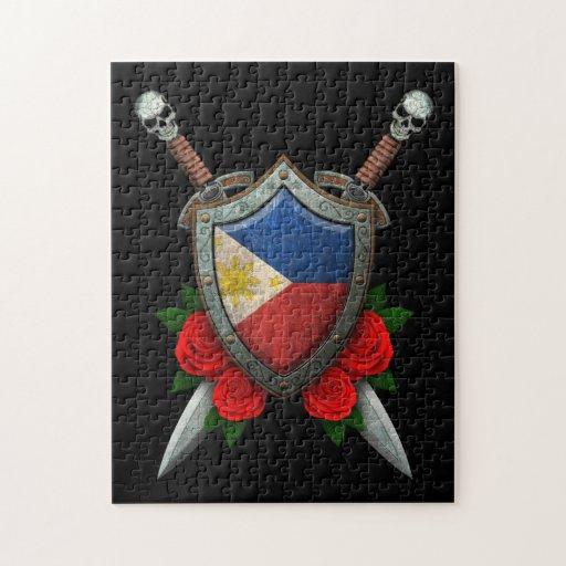 Escudo y espadas filipinos gastados de la bandera puzzle