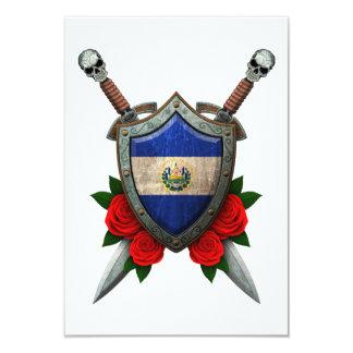 """Escudo y espadas gastados de la bandera de El Invitación 3.5"""" X 5"""""""