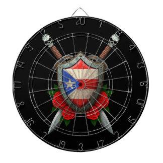 Escudo y espadas gastados de la bandera de Puerto  Tabla Dardos