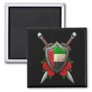 Escudo y espadas gastados de la bandera de United  Iman De Frigorífico