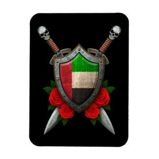 Escudo y espadas gastados de la bandera de United Iman