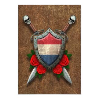 """Escudo y espadas holandeses envejecidos de la invitación 3.5"""" x 5"""""""