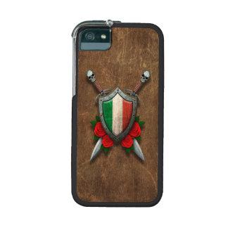 Escudo y espadas italianos envejecidos de la bande
