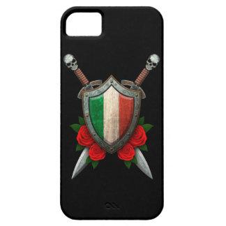 Escudo y espadas italianos gastados de la bandera iPhone 5 fundas