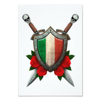 """Escudo y espadas italianos gastados de la bandera invitación 3.5"""" x 5"""""""