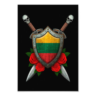 Escudo y espadas lituanos gastados de la bandera invitación 8,9 x 12,7 cm
