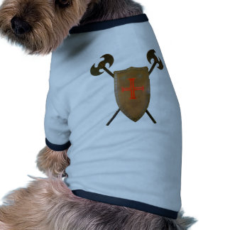 Escudo y hachas medievales ropa para mascota