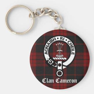 Escudo y tartán de Cameron del clan Llavero Redondo Tipo Pin