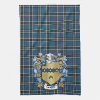 Escudo y tartán de la familia de Thompson (irlande Toalla De Mano