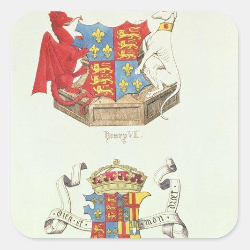 Escudos de armas de Henry VII y de Elizabeth de Pegatina Cuadrada