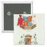 Escudos de armas de Henry VII y de Elizabeth de Yo Pin Cuadrada 5 Cm