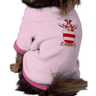 Escudos de la familia de la daga camiseta con mangas para perro