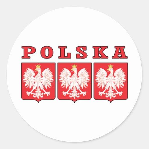 Escudos de Polska Eagle Etiqueta Redonda