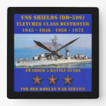 Escudos de USS (DD-596) Reloj De Pared